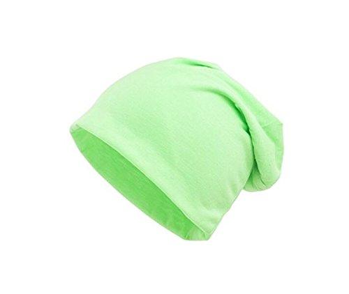 I LOVE DIY Bonnet Jersey tricoté Chapeau Unisexe Beanie Hip-Hop Plusieurs Couleurs Printemps/été pour Hommes Femmes (Vert Fluorescent)