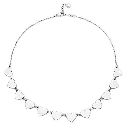 Beloved Collana girocollo donna in acciaio ESSENTIAL con charms varie forme - chiusura a moschettone - lunghezza regolabile (Cuori)