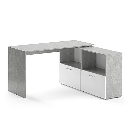 Vicco Eckschreibtisch Flexi Computer Bürotisch PC Schreibtisch Schublade Office (Beton/Weiß)