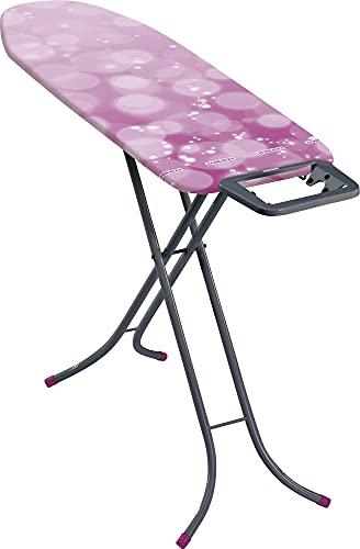 Leifheit Bügeltisch Classic M Basic 60years Color Edition pink, für mittelgroße Haushalte, Bügelbrett mit fester Bügeleisenablage, höhenverstellbares Bügelbrett klein zusammenklappbar