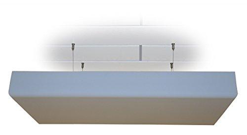 Deckensegel Bass Absorber Akustik Schaum mit Dekor-Kante aus BASOTECT® lichtgrau DIN4102 Maße: 100 x 50 x 12cm mit Edelstahl-Halterung