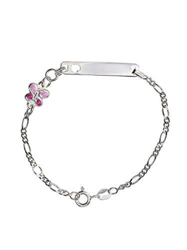 AKA Gioielli® - Pulsera ID Placa Plata de Ley 925 con Colgante Mariposa Rosa Esmalte para niñas