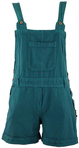 Guru-Shop Goa Shorts, Kurze Latzhose, Boho Latzhose, Damen, Petrol, Baumwolle, Size:M (38), Shorts, 3/4 Hosen, Leggings Alternative Bekleidung