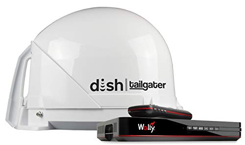 KING DT4450 DISH Tailgater Bundle - Portable/Roof Mountable Satellite TV Antenna and DISH Wally HD Receiver , White , Western & Eastern Arc Satellites