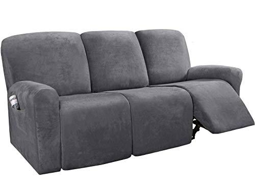 BANNAB Funda elástica para sofá reclinable, Suave Funda de sofá de 3 Asientos, Protector de Muebles Lavable de Terciopelo con Elasticidad para niños, Gris Mascota