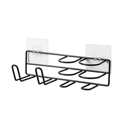 ACEACE Secador de Pelo Titular de la Pared Estante de la Esquina de la Pared Accesorios de baño Organizador Localaje Almacenamiento Ducha Plancha Estante para Cocina Sundry (Color : Black 25x9x7.3cm)