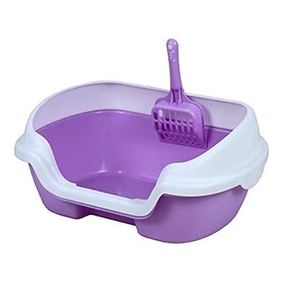 Plastic Medium Cat Litter Tray High Rim Cat Litter Tray Pet Cat Litter Box Pet Toilet Portable Cleaning,Purple