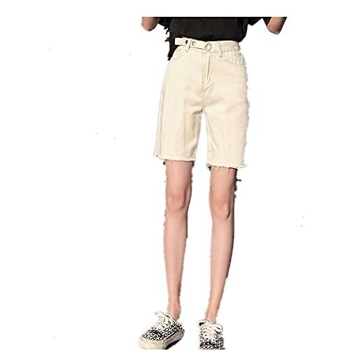 LJLLINGB Bermudas Grises Jean Shorts Mujer Verano Denim Short Borla Sólido Casual Pantalones Cortos de Cintura Alta Streetwear Jeans Negros