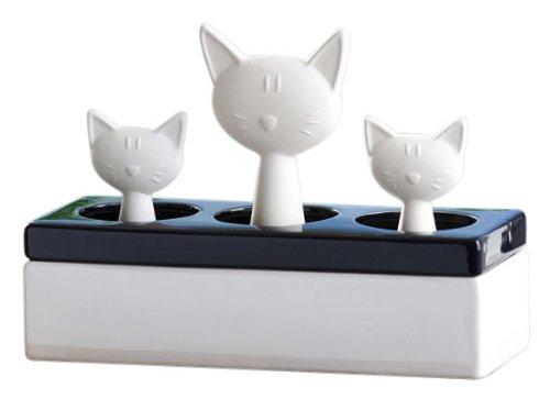 WENKO 52608100 luchtbevochtiger kattenfamilie - keramische verdamper, keramiek, 22 x 15,5 x 8,5 cm, wit