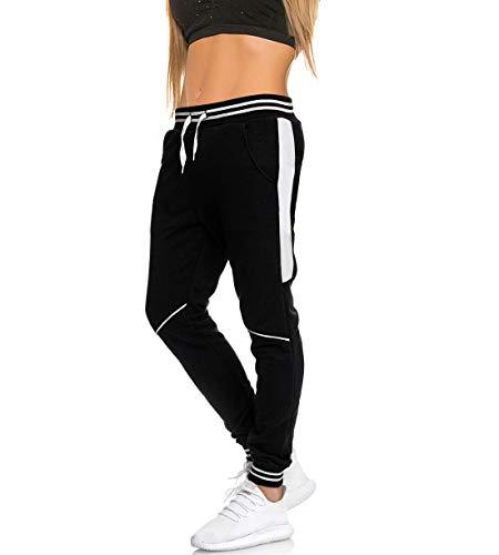MATKA Damen Frauen Jogging Hose Jogger Streetwear Sporthose zuhause Chill Jogg Bekleidung Modell 1317 Schwarz Weiss S