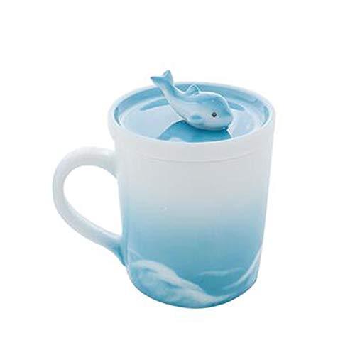 QW Taza de Ballena de cerámica de Gran Capacidad Taza de Agua Linda con Tapa Taza de café Taza de Leche Taza de Pareja Regalo Creativo para niña E