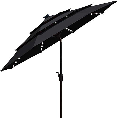 EliteShade Sunbrella Solar 9ft 3 Tiers Market Umbrella with 80 LED Lights Patio Umbrellas Outdoor Table with Ventilation and 5 Years Non-Fading Top,Black