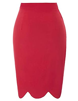 Belle Poque Women's Wear to Work High Waist Stretchy Slim Fit Bodycon Midi Pencil Skirt