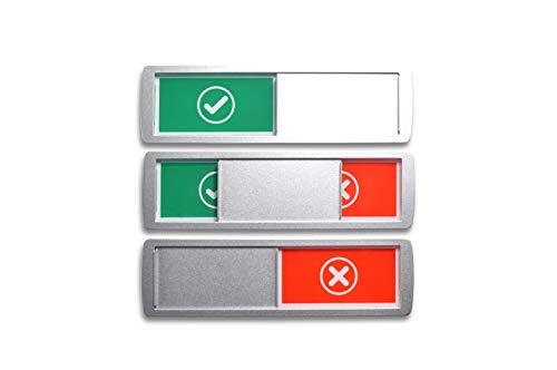 Cartel GRANDE LIBRE/OCUPADO ✓/X 17.5x5cm, Los imanes en el marco bloquean la unidad deslizante de metal curvo en su posición: Operar fácilmente con codos, pintura metálica y superficie adhesiva de 3M