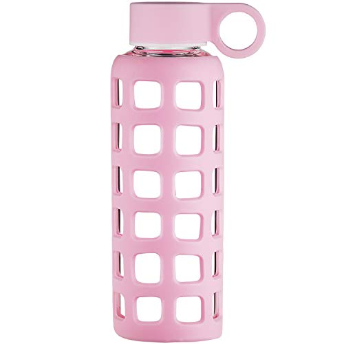 Origin Best BPA-Free Borosilicate Glass Water Bottle with Protective Silicone Sleeve and Leak Proof Lid - Dishwasher Safe (Pale Pink, 22 Oz)