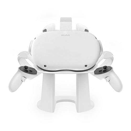 AMVR VR Headset and Touch Controllers Display Stand, Helmet & Handle Holder Mount Station for Oculus Quest 2 (White)