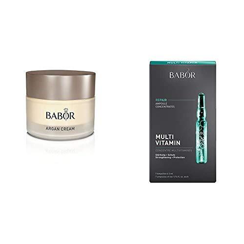 BABOR CLASSICS Argan Cream, reichhaltige 24h Intensiv-Pflege mit Arganöl, 50 ml & AMPOULE CONCENTRATES Multi Vitamin, Gesichtspflege für trockene Haut, mit Vitamin E, A & Biotin, 7 x 2 ml