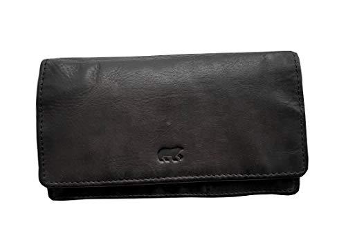 ZAROLO Damen Geldbörse, Portemonnaie CL782 gewaschenes Leder Vintage Look (15/9/3 cm)