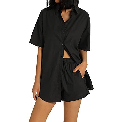 Pabuyafa Conjunto de 2 piezas de ropa casual de verano para mujer, de algodón de lino y manga corta, blusas de cuello en V con puños Y2K Streetwear, Negro, S