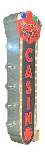 Get Lucky Casino Festzelt-LED-Schild, 63,5 cm, doppelseitig, batteriebetrieben, Vintage-Design, fertig zum Aufhängen in Haus, Bar, Spielzimmer, Garage, Männerhöhle
