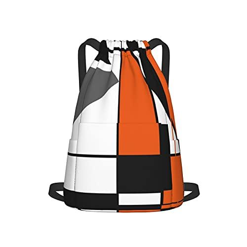 Mochila con cordón para deporte, gimnasio, mochila, diseño de mosaico, color naranja, blanco, gris, negro, geométrico, abstracto, unisex, con bolsillo lateral para gimnasio, compras, deporte, yoga