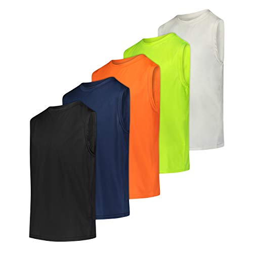 5 Pack: Boys Active Quick Dry Fit Tank Jersey Sleeveless Performance Sports Basketball Beach Gym Workout Running Fitness Athletic Undershirt Breathable Yoga Hiking Girls Teens School Outdoor Set 2, XL