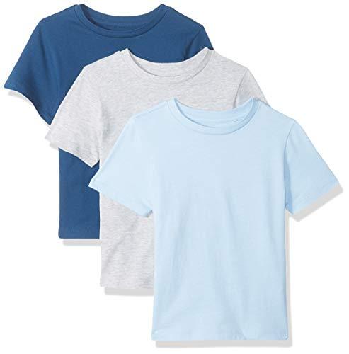 Amazon Essentials Kids Boys Short-Sleeve T-Shirts, 3-Pack Grey/Blue/Sea, Medium