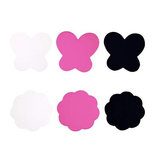 Artibetter 6 Pcs Nail Art Palette Silicone Dessin Couleur Palette Nail Art Peinture Gel Palette Maquillage Nail Mixage Mélange Plateau Pour Pigment (Noir Blanc Rose)