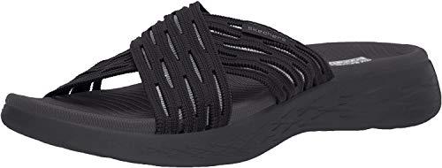 Skechers Women's GO Run 600-SUNRISE Slide Sandal, black, 8 M US