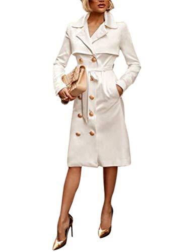 ORANDESIGNE Donna Vestiti Eleganti Corti Vestitini Blazer Ragazze Manica Lunga V Neck Doppio Petto Abiti Casual Vestito Tailleur Puro Colore Dress Mini Abbigliamento Bianco 48