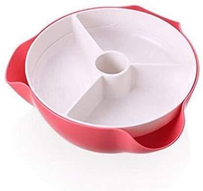 KKGASSAB Bandeja de Frutas DoubleTayer Descubierto Caja de Caramelo Caja de Almacenamiento Sala de Estar Combinación de plástico Fruta secada Melón y Fruta Bandeja Frutas (Color : Pink)