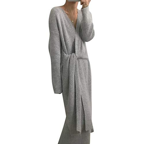 Huaheng Riem Cashmere Sweater Jurk Vrouwen Mode Kantoor Lady V Kneck Lange Mouw Gebreide Jurk Grijs