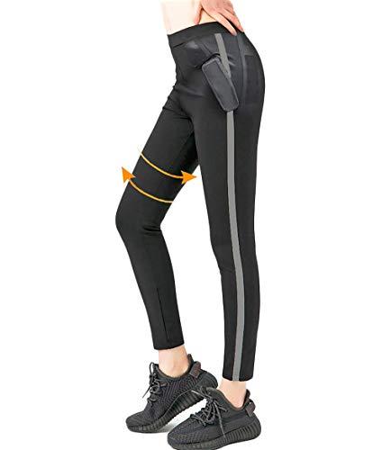 ROOTOK Pantalones para adelgazar, Mallas deportivas mujer, pantalón de sudoración, leggins anticeluliticos fitness, mallas termicas efectiva en deporte fitness negro