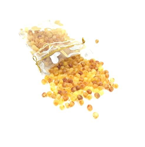 Perlas sueltas de ámbar báltico natural con un agujero sin pulir. Peso: 5 gramos de perlas de ámbar listas para la fabricación de joyas.