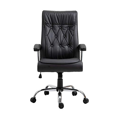 Halter Adjustable Height Executive Padded Office Chair, Ergonomic High Back Lumbar Support Chair, Luxury Leather Bonded Computer Chair for Home Office Desk, Black