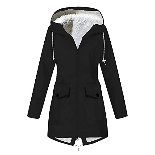 JEGULV Rain Coats for Womens Lightweight Long Raincoat Waterproof Active Outdoor Trench Jackets Windbreaker with Lined Black