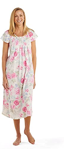 Miss Elaine Nightgown - Women's Midi-Length Chic Gown, Breathable Fabric, Short Sleeves and Hand Smocking (Large, Pink/Blue Floral)