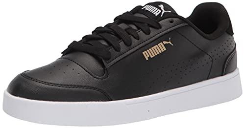 PUMA Men's Shuffle Sneaker, Black Team Gold White, Numeric_10_Point_5