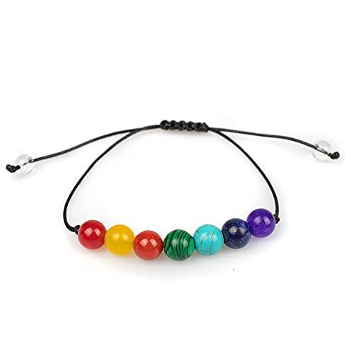Myga RY1450 Pulsera de cuentas con 7 chakras, aprovecha la energía de los siete chakras para equilibrar el cuerpo y la mente