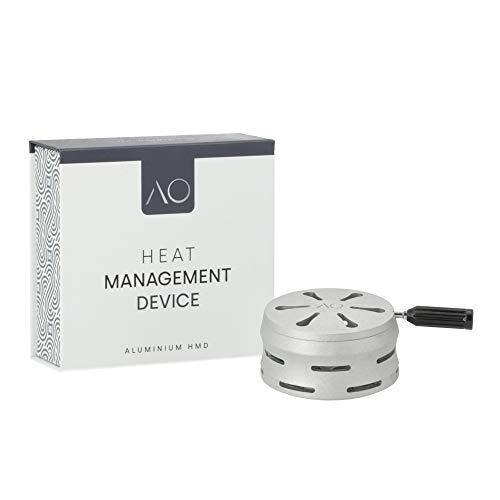 AO® HMD Smokebox Shisha Kaminaufsatz 74 mm I Hochwertige Shisha Heatbox Hitze Management System aus Aluminium I Smoke Box für Verlängerte Rauchdauer bis zu 120 Minuten mit 2 Kohlen (Sandblasted)