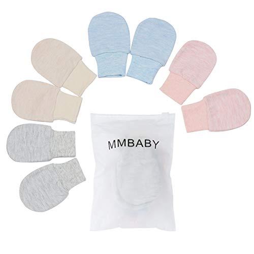 4 Paare Neugeborenen Handschuhe,Babyhandschuhe aus Baumwolle als Neugeborenen Handschuhe, No Scratch Fäustlinge Handschuhe Babyhandschuhe Keine (0-6 Monate, 4 Packungslos)