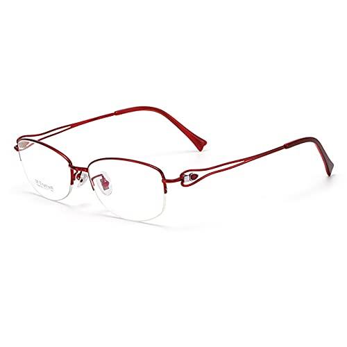 HQMGLASSES Vidrios de Lectura Anti-Azul de Titanio Pure Titanium Pro Progresivo, Gafas de Lectura de Resina HD Gafas Dioptrías +1.0 a +3.0,Rojo,+2.75