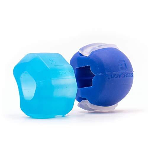 Jawzrsize Gesichtstoner, Kiefer-Exerciser und Nackenstärkungsgerät - (30/40 Lb. Resistance) Zwei Pack - Level 1 & 2 - Blau/Lila