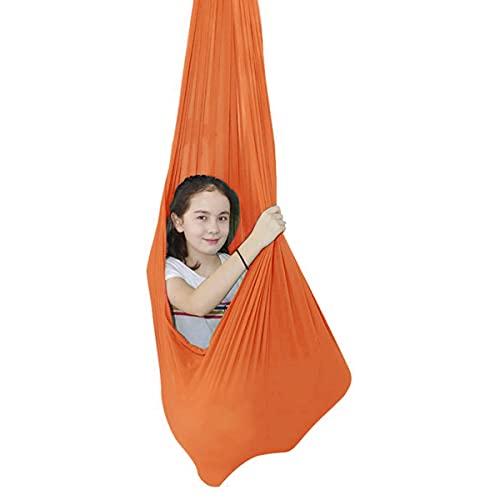 Columpio De Terapia De Interior para Niños Y Adolescentes con Más Necesidades Especiales Soft Nylon Hamaca Integración Sensorial Camping Al Aire Libre (Color : Orange, Size : 150 * 280cm)