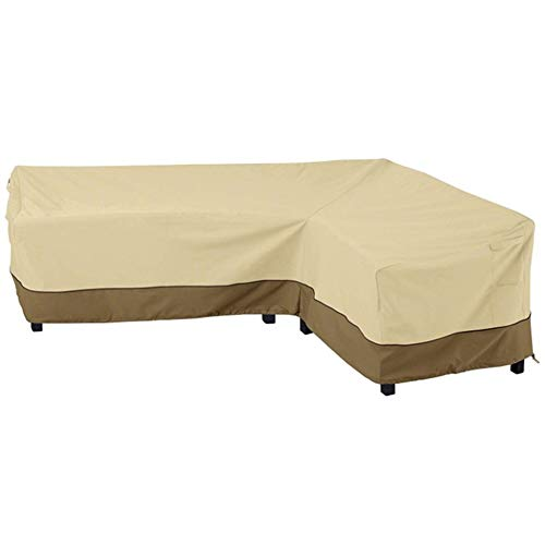 CHEYLIZI L Shape Garden Sofa Covers Waterproof, Dustproof Patio Furniture Corner Sofa Couch Protective Cover with Durable Hem Cord Windproof, 210X264cm (210D Oxford Fabric, Right Side)