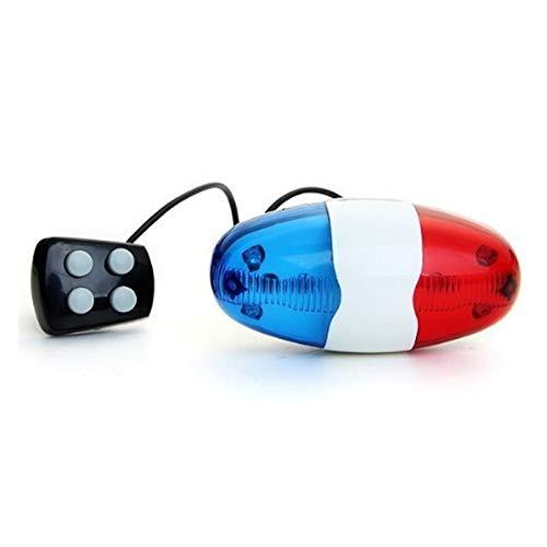 QHKS 6 Bicicletas de luz LED 4 Sonidos de Trompeta Electonic Cuernos de Bell Luz Trompeta MTB Muy Ruidoso Sonido de la Sirena de Policía Estilo Ciclismo Piezas (Color : As Show)