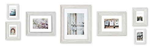 Gallery Perfect 7 Piece Distressed White Photo Gallery Wall Decorative Art Prints & Hanging Template 7 PC Frame Kit