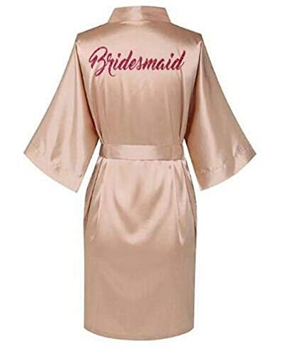 AAJTCT Aangename rode letters, jurken, pyjama, badjas, Kimono van Nightgown, bruidsmode van satijn, avondjurk, voor dames (kleur: champagne, bruidsmaid, maat: XL)