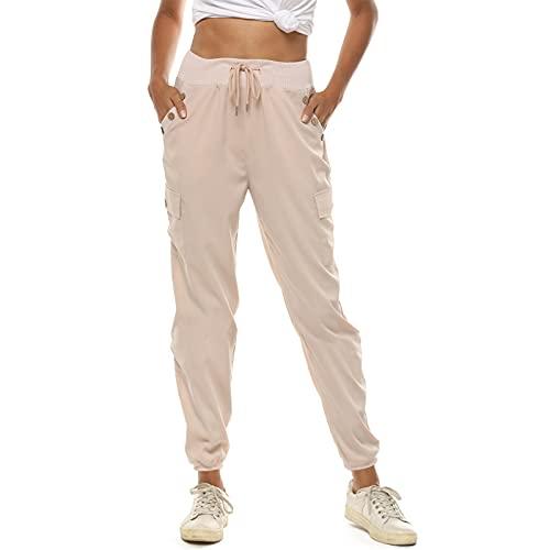 Loozykit Damen Lange Freizeithose Sommer Casual Jogginghose Sporthose Mode Sweatshose mit Taschen Lose Yoga Hose Laufhosen High Waist Trainingshose Baggy Damenhose(Beige,M)