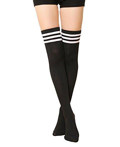 CHRISTYLE mujer Raya Escuela de Cosplay casual uniforme sobre la rodilla medias hasta el muslo calcetines largos Un tamaño Negro